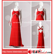 Low Back Beaded Straps Empire Chiffon Red Evening Wear Criss-Ross Prom Dress (TC06673)