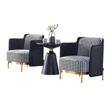 Modern Home Furniture Leisure Lounge Sofa Brass Steel Legs Fabric Upholstered Tape Armchair