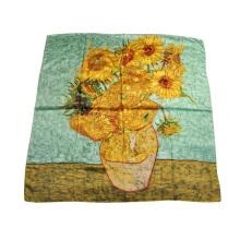 Sunflower Sutera tulen lukisan selendang Satin