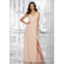 Seitenschlitz Rosa Chiffon Abend Brautjungfer Kleid