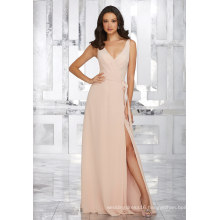 Side Slit Pink Chiffon Evening Bridesmaid Dress