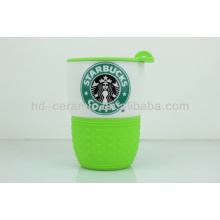 ceramic starbucks coffee mug with lid&sleeve,travel mug,ceramic mug with logo,ceramic cup