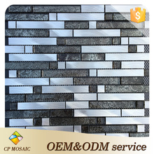 Factory glass mosaic wall decoration metal strip crystal aluminum foil crystal mosaic tile in China