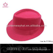 Algodão sarga chapéu de fedora vermelha para meninas