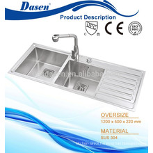 Submount lay on stainless steel kitchen sink with plate