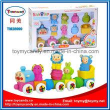 Soft Plastic Cartoon Animal Assemble Building Block Train Toy Set