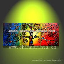 Peinture à l'huile d'arbres artisanaux à trois panneaux d'art, Licky Tree Canvas Artwork