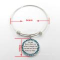 Круглый заказной текст браслет из нержавеющей стали браслет Мода ювелирные изделия