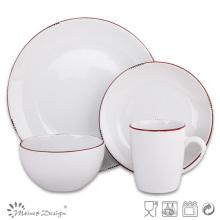 16PCS Dinner Set Solid Glaze avec la conception de la jante rouge