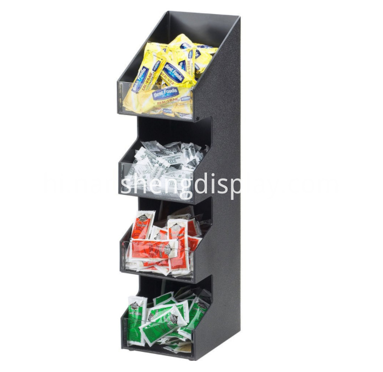 Black Classic Cafe Coffee Condiment Display Organizer