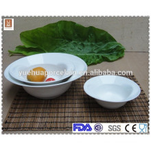 Chinese simple design round ceramic white porcelain soup bowl set