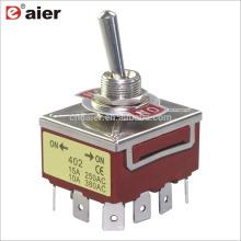 12MM 15A 250V 4PDT 12Pin Verrouillage 3 Interrupteur à Bascule ON OFF ON