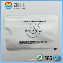 Papel de alumínio impresso titular do cartão de papel para bloqueio de RFID