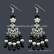 Hand Polish antique silver fashion Earrings Vners Black stones SE-012