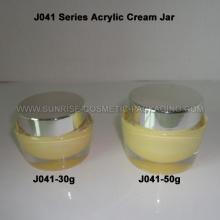 30g 50g forma ovalada crema tarro de acrílico con capuchón plata brillante