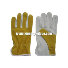 Pig Skin Wing Thumb Driving Work Glove-9513