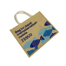 2020 Factory Supply Waterproof Burlap Eco Reusable Shopping Tote Hessian Jute Shopping Bag