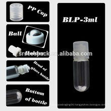 SRS PACKAGING 3ml glass essential oil bottle , cosmetic mini 1ml glass roller ball bottle with plastic caps