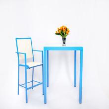 Blue Garden Patio Furniture Set eetkamer gedekte tafel en stoelen
