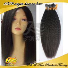 Qualidade superior kinky reta virgem brasileira eu derrubo extensões do cabelo