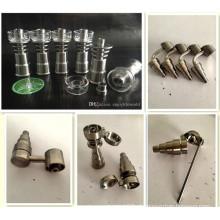 Titanium e Quartz Nail Domeless 6-em-1 Titanium Nail Fit para Tubo de Água de vidro Tubo de fumar