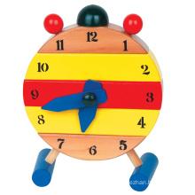 Brinquedo pré-escolar brinquedo madeira relógio