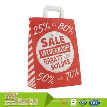 Großhandels bereiten Sie kundenspezifisches Logo auf, das den flachen Griff-Lebensmittelgeschäft-Einkauf verpackt, der neue Art Kraftpapier-Tasche verpackt