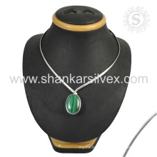 Imperious melachinte gemstone necklace 925 sterling silver jewelry jaipur silver jewelry supplier