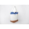 Handmade Multi-color Women Leather Bucket Handbag With Purse