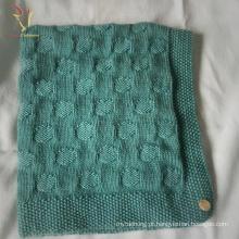 Cobertores feitos malha feitos sob encomenda do lance do bebê da mistura da caxemira da mão