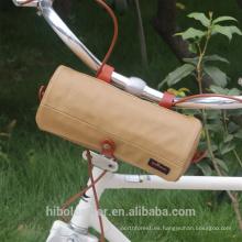 Bolso de la manija de la bicicleta que lleva el bolso de hombro lona impermeable cesta de ciclo de color caqui cesta delantera
