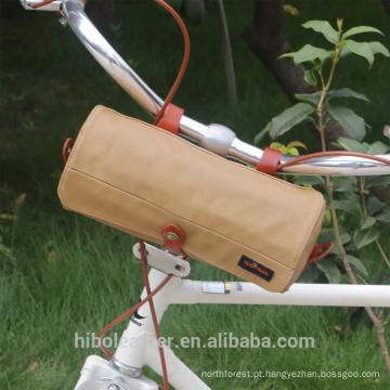 Saco de guidão de bicicleta carregando bolsa de ombro lona à prova d 'água cáqui ciclismo armazenamento frente cesta