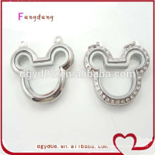 Fashion stainless steel Mickey Mouse magnetic silver floating living glass memory locket for christmas