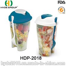 Taza plástica promocional de la coctelera de la ensalada con la bifurcación (HDP-2018)