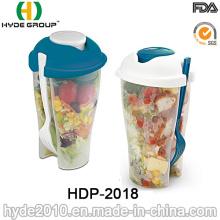 Tasse en plastique promotionnelle environnementale d'agitateur de salade avec la fourchette (HDP-2018)
