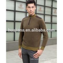 мужская 100% кашемир половина молнии свитер