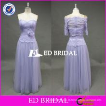 ED Bridal Elegant Lavender Flower Waist Sweetheart Decote sem mangas Tulle Prom Dress com jaqueta 2017