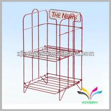 Moda robusta soldada 2 níveis vermelho grande capacidade de exibição de supermercado de metal suporte de prateleira de alta resistência