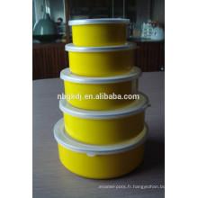 Bol de nourriture en émail 5 couvercles avec couvercles PE et décalcomanies jaunes