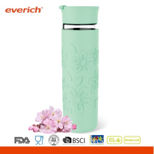 550ml High Grade Borosilicate Glass Cup With Flip Lid And Silicone Sleeve