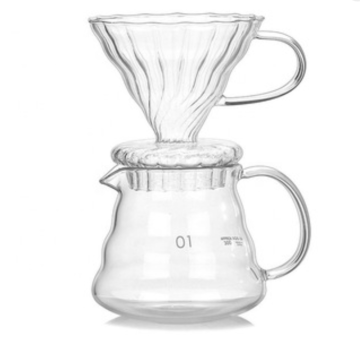 with Borosilicate Glass Carafe and Reusable Stainless Steel Pour Over Coffee Maker