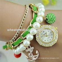 El ancla de moda del dial del diamante 2015 y el shambala rebordean el reloj de las mujeres de la pulsera de la correa de la perla