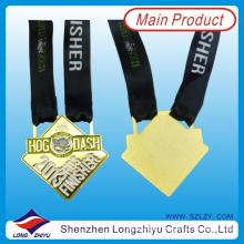 2013 Texas maratona medalhas Esporte Famoso Gold Finisher medalha Medalha gravada Cute Pig Medalha única com fita preta (lzy00040)