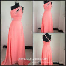 2016 New Arrival Floor Length Cheap under Sexy One Shoulder Chiffon Evening Dresses Coral Color