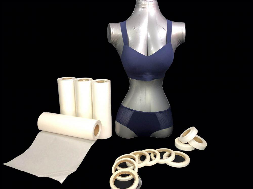 Transparent hot melt adhesive film for seamless underwear