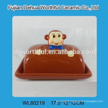 Promotional monkey design ceramic butter dish with cover