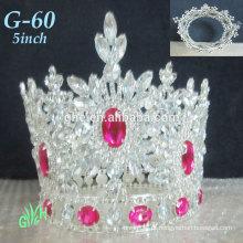 Novo atacado Yiwu Tiara Pink Mini Crown A Rodada Completa