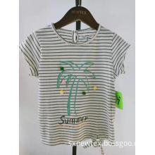 fashion printed stripe summer girls blouse top