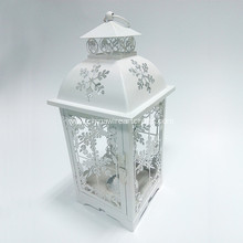 Holiday Series White Snowflower Lantern Hurricane Light