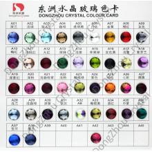 Cartão de cor: pedra de cristal de volta plana para jóias / decoração do vestuário